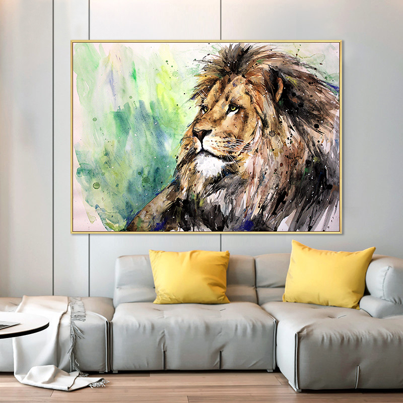 Hand-painted large lion animal abstract oil painting art hand-painted living room abstract animal oil painting