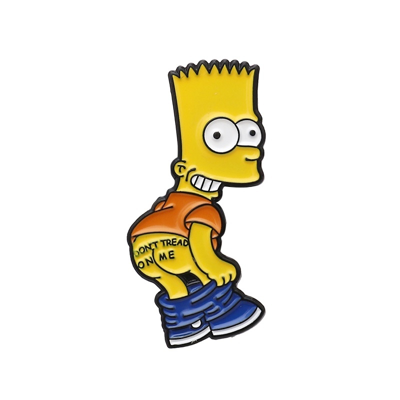 12 Style Funny vintage Cartoon Enamel Badge The Simpson pin collection Simpson Marge Bart Milpool Bart Simpson lapel pin