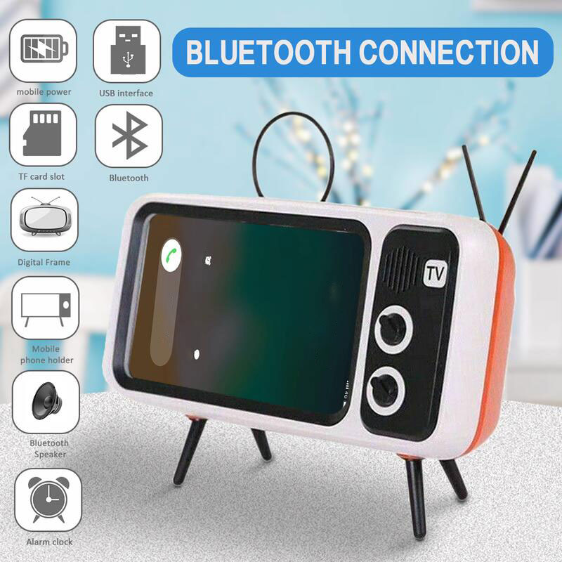(Last day promotion-50% OFF)Retro TV Bluetooth Speaker Mobile Phone Holder