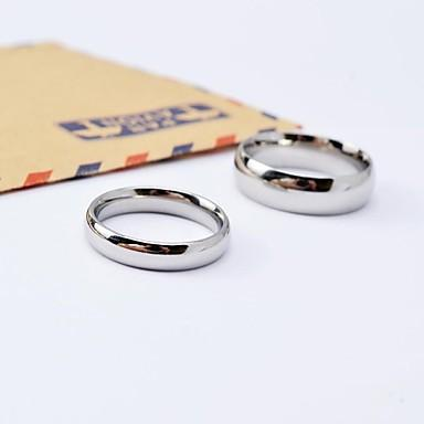 Couple's Couple Rings Silver King & Queen Titanium Steel Round Ladies Simple everyday Wedding Daily Jewelry Classic Style Friendship