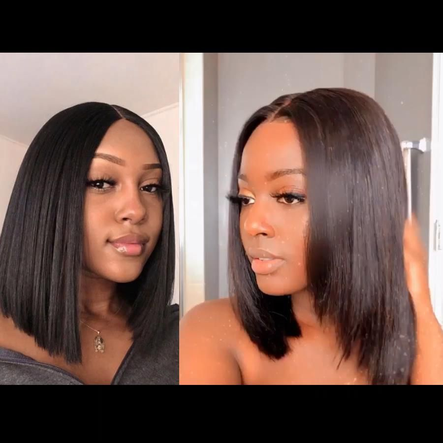 Straight Wigs Lace Front Straight Hair Clip Ins Remy Rain Straight Hair Black Bundles With Frontal Short Wigs That Look Real For African American