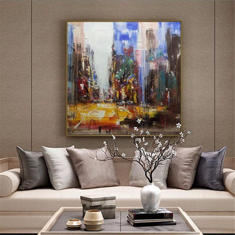 Original acrylic abstract painting city landscape on canvas wall art picture for living room bedroom home wall decoration blue thick texture