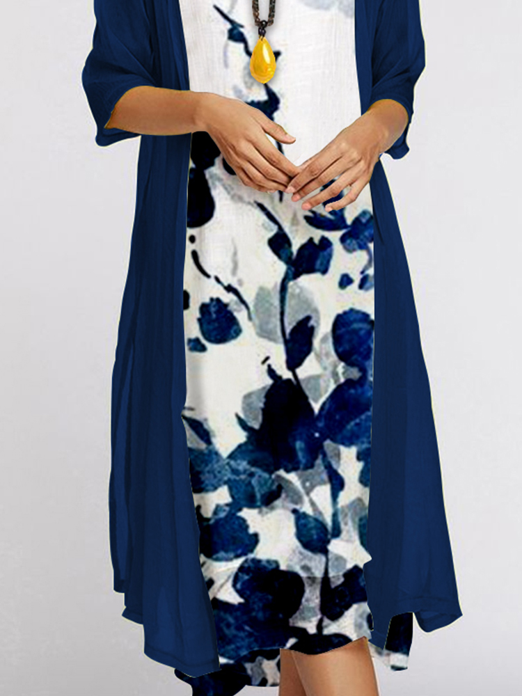 ✨New In✨Two-piece Long-sleeved Print to the Knee Dress