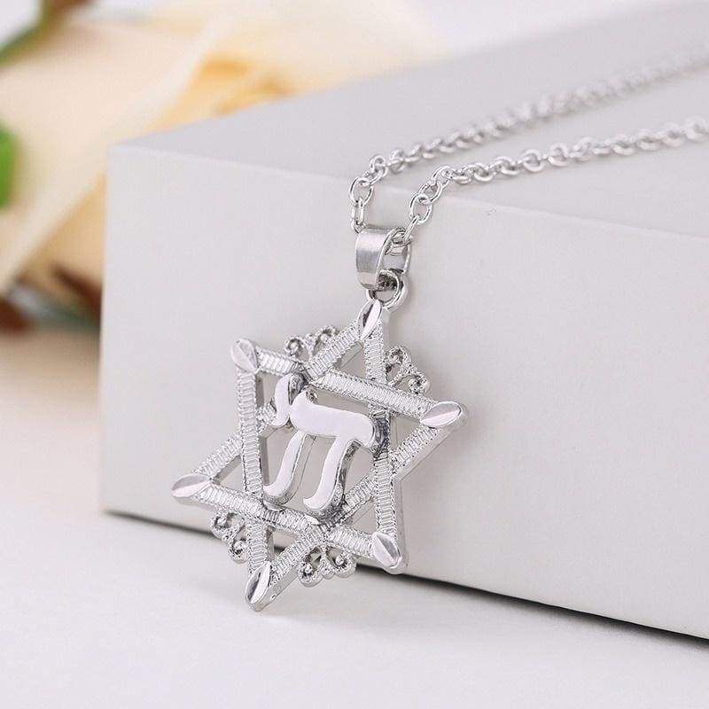 Star of David Hexagram Pendant Necklace Silver Gold Tantrism Jewerly Jewish Chai Charms Judaism Symbol Accessories