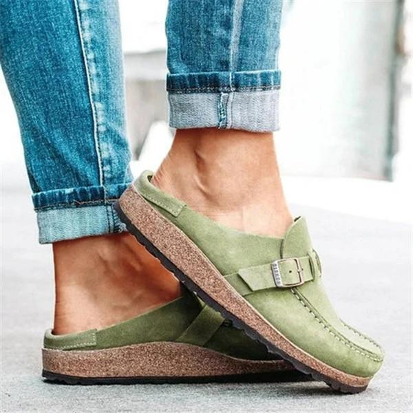 Faddishshoes Women Casual Comfy Leather Slip On Sandals