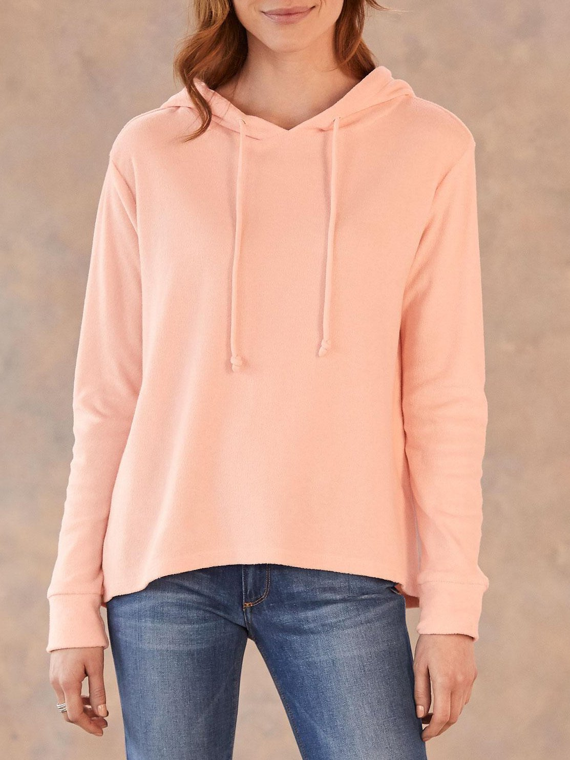 Daily plain loose hoodie with hat