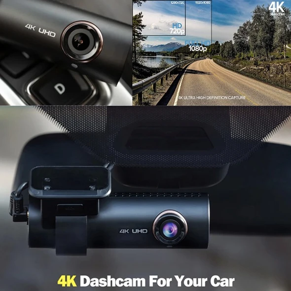 The 4K UHD wide-angle lens dash CAM features a built-in WIFI dashboard and GPS