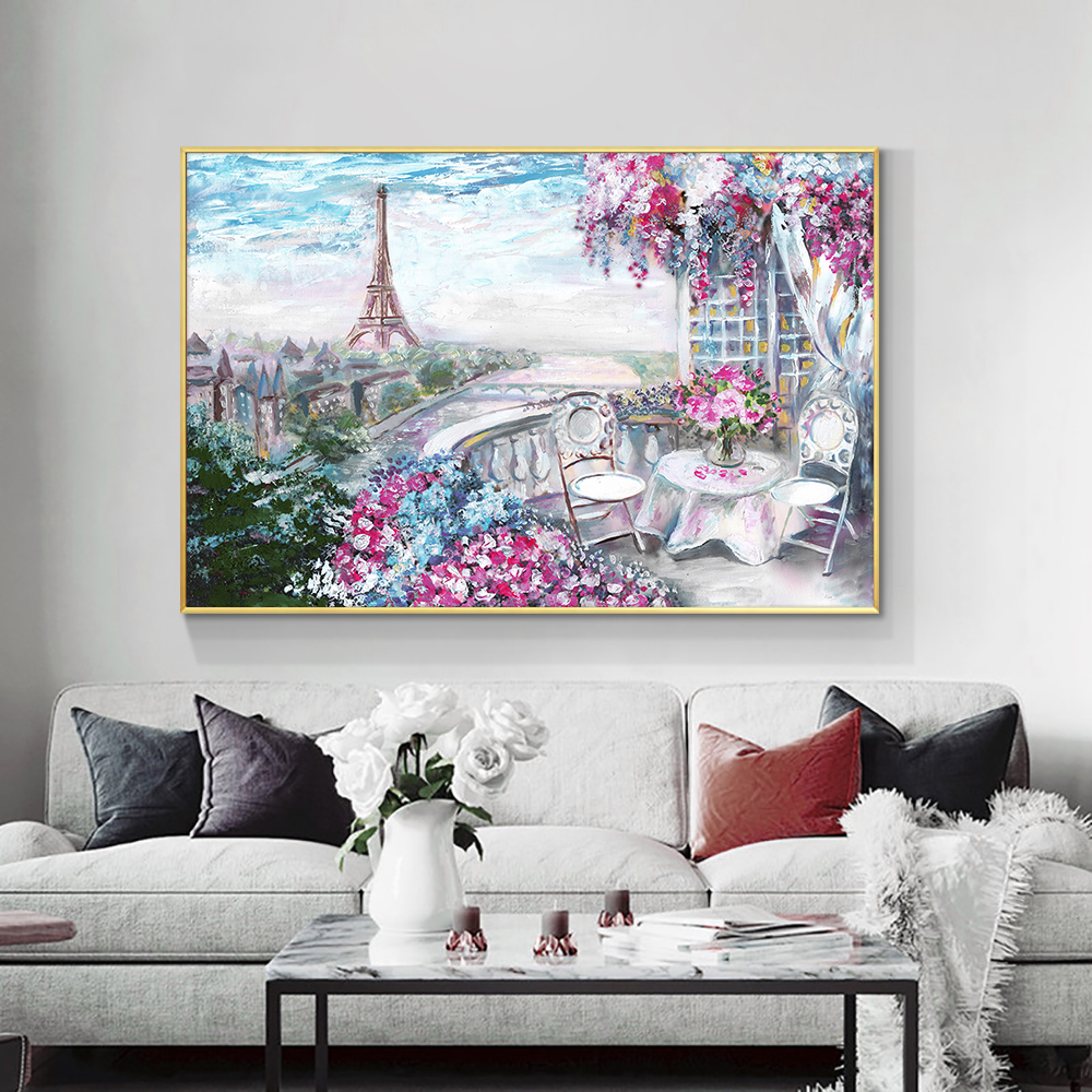 Abstract Colorful Flowers 100% Hand Painted Oil Painting On Canvas Modern Landscape Wall Art Painting For Bedroom Home Decor