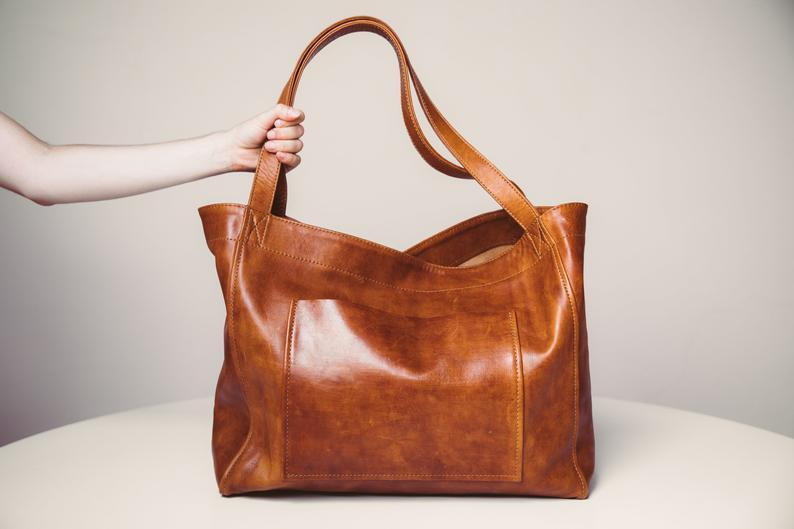 Women's Large Soft Leather Tote Bag With Pocket