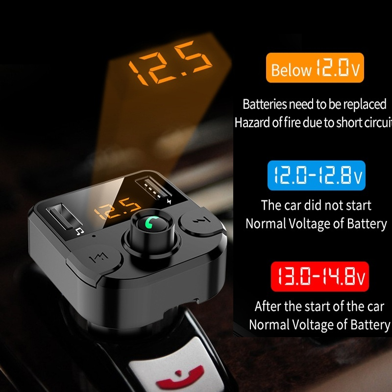 Bluetooth 5.0 Car MP3 Player Wireless Hands-free Calling Car Kit Dual USB Ports Charging Battery Voltage Detection Stereo Music Player Universal Automotive Parts & Accessories