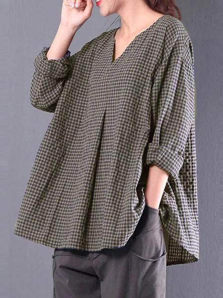 Women Plus Size Gingham Folds Linen Casual 3/4 Sleeve Blouse