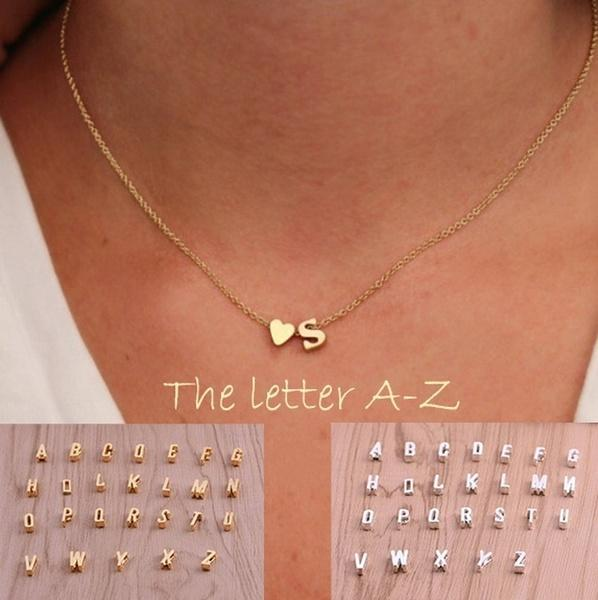 Tiny Love Heart Pendants for Women(26 Letters Long  Necklaces )