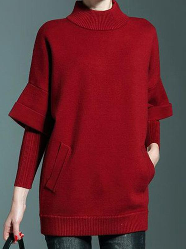 Fake Two High Neck Solid Casual Knitted Sweater