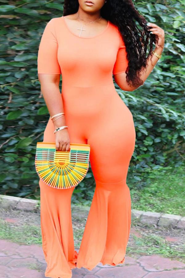 Solid Color Round Neck Flared Jumpsuit