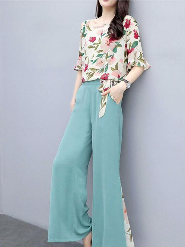 Womens Floral Print Top And Pants Two-piece Suit