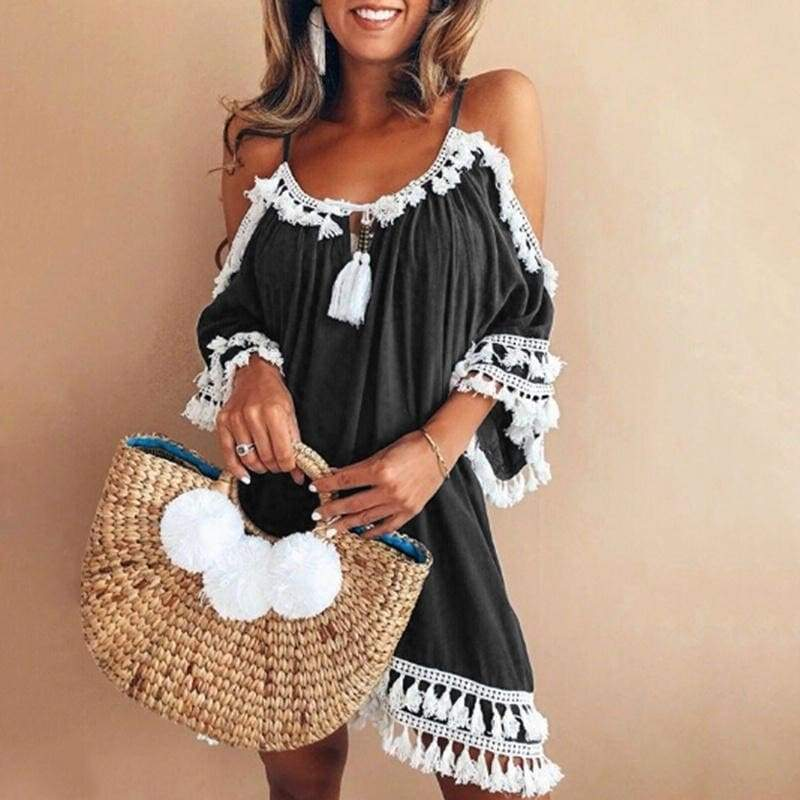 2018 Fashion Women Sexy Lace Dress Lace Round Neck 3/4 Sleeve Clothes Silm Mini Party Off Shoulder Dress