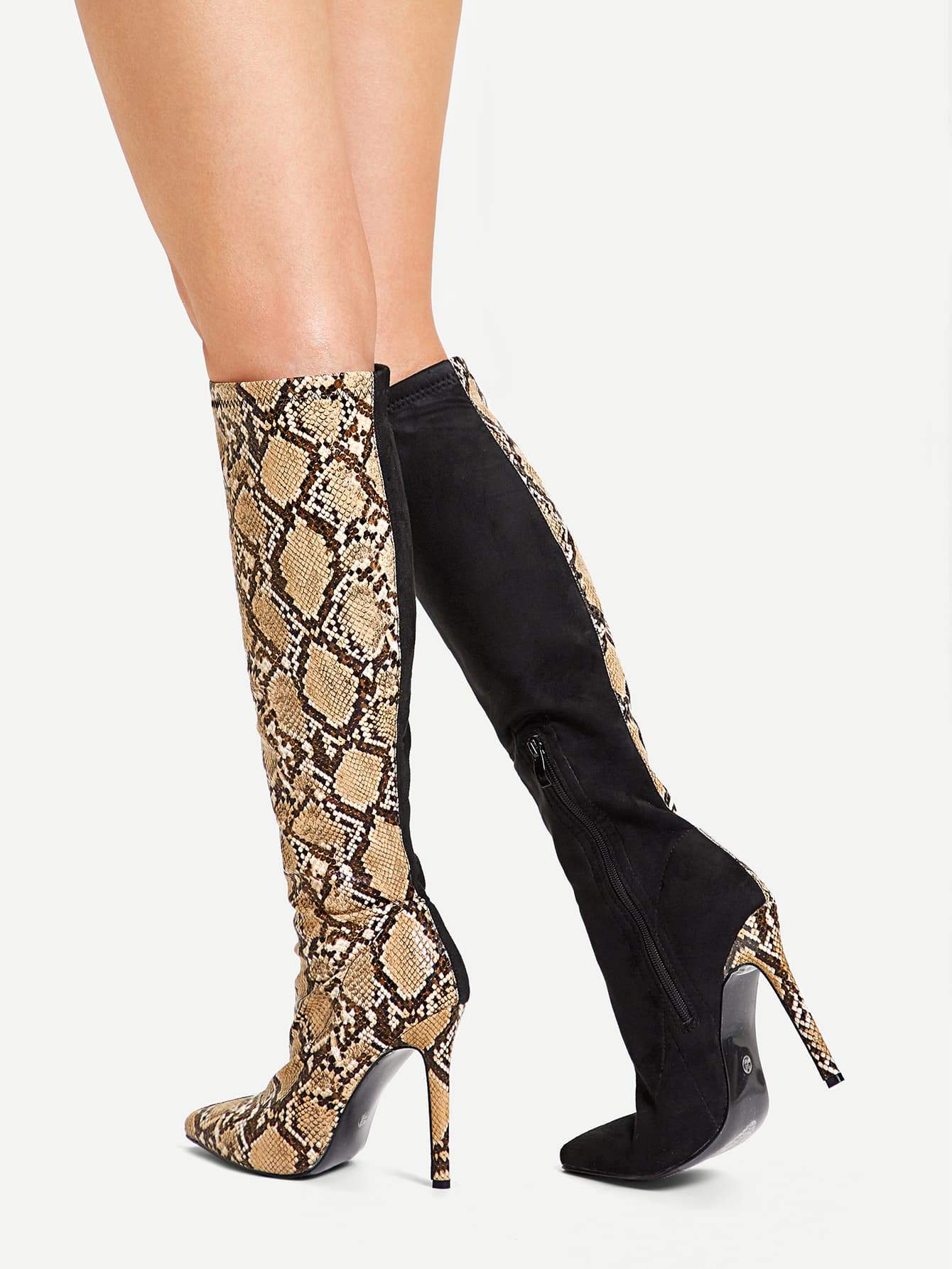 Contrast Snakeskin Pattern Knee High Boots