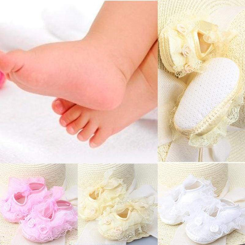 Cute Non-Slip Newborn Infant Child Toddler Lace Frilly Flower Shoes 3 Colors Girls Popular