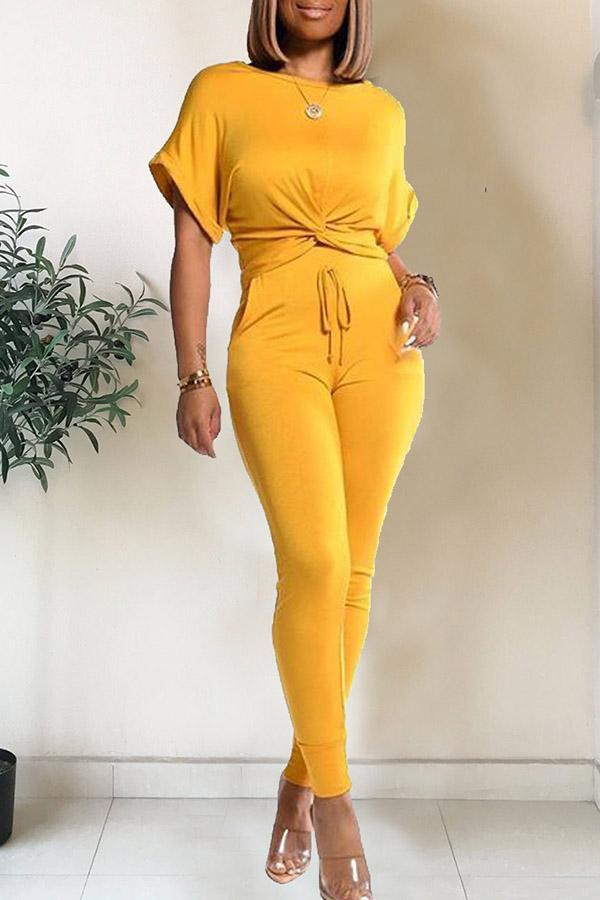Casual Solid Color Sports Two-piece Suit
