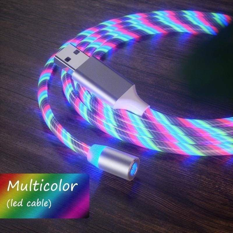 3.0A Colorful Streamer Magnetic Type C Micro USB Cable Fast Charging Data Line For Iphone Samsung Xiaomi Android Mobile Phone