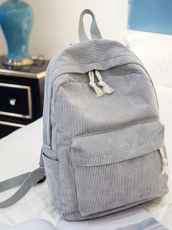 Corduroy solid color zipper casual backpack
