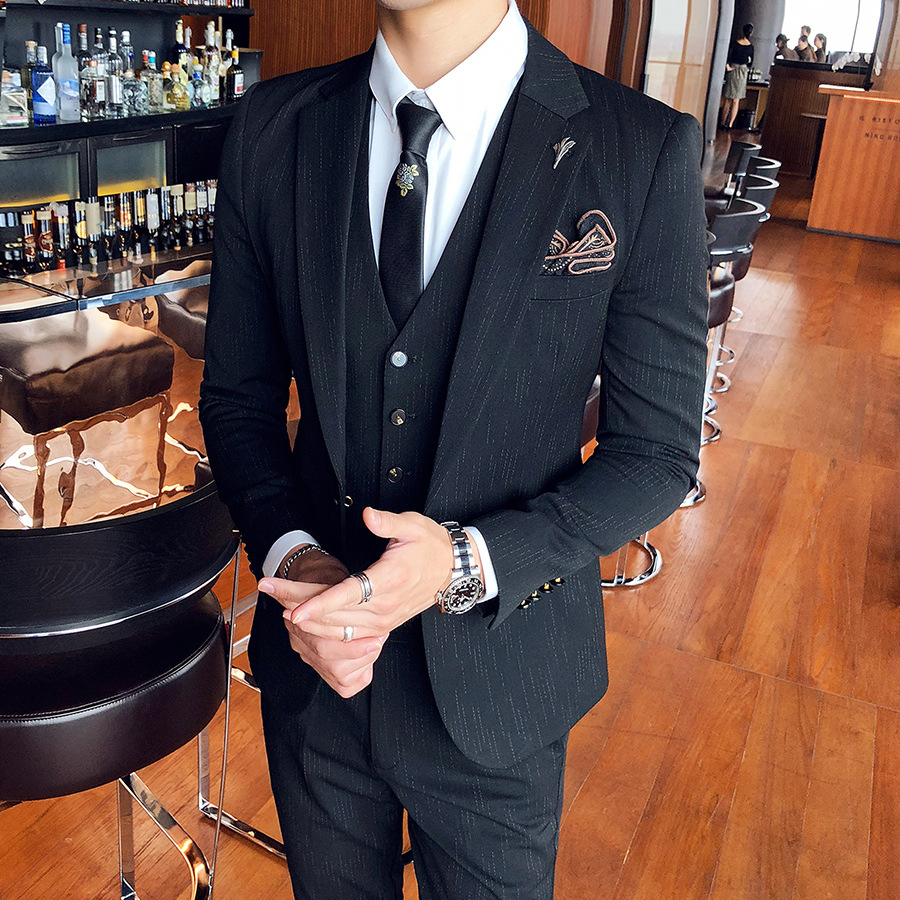 Black satin rocker   with silver gothic profile on shawl collar suit top