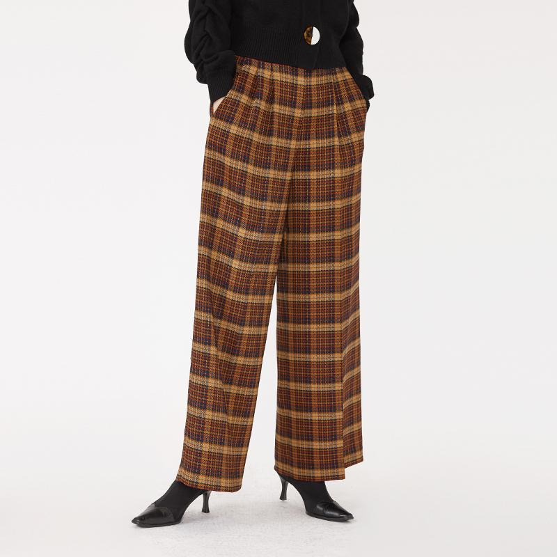 100% polyester vintage style modest fashion straight cut high waist woman brown check office pants-carrot trousers 2.11