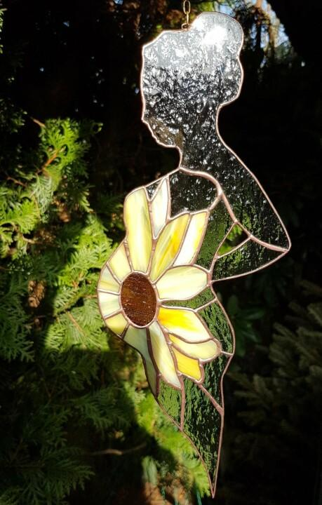 🎉Mother's Day BUY 3 GET 2 FREE🎉Stained glass suncatcher Pregnant Woman With A Sunflower As Belly
