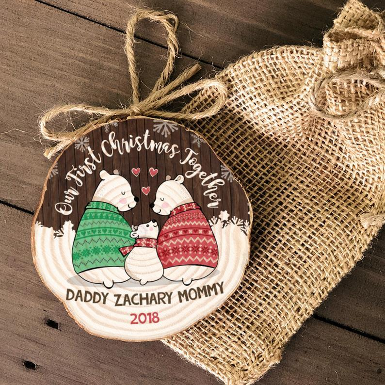 First Christmas together daddy mommy baby bear wood slice first christmas rustic ornament keepsake annual yearly family ornament MWO-020