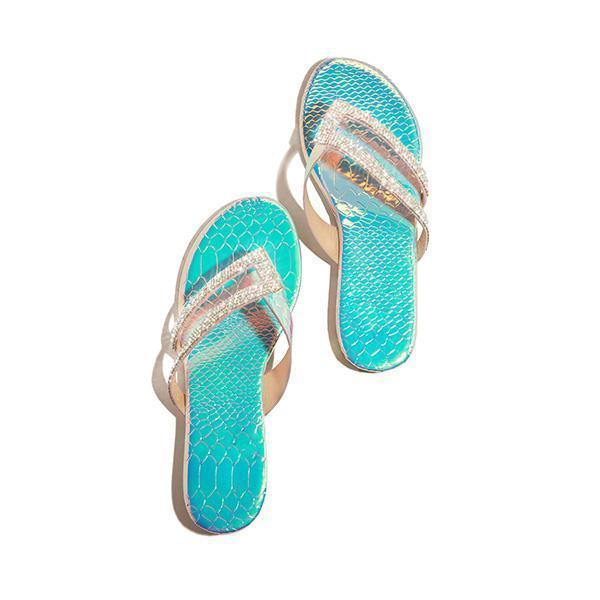 Faddishshoes Shiny Rainstone Casual Flip-flop Slippers