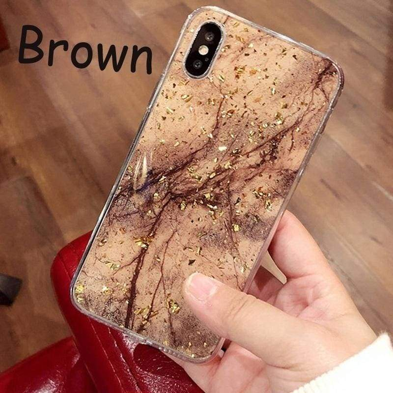 Luxury Gold Foil Bling Marble Phone Cases For IPhone X 10 Cover Hole Soft TPU Cover For IPhone 7 8 X XS XSMAX Plus Glitter Case Coque