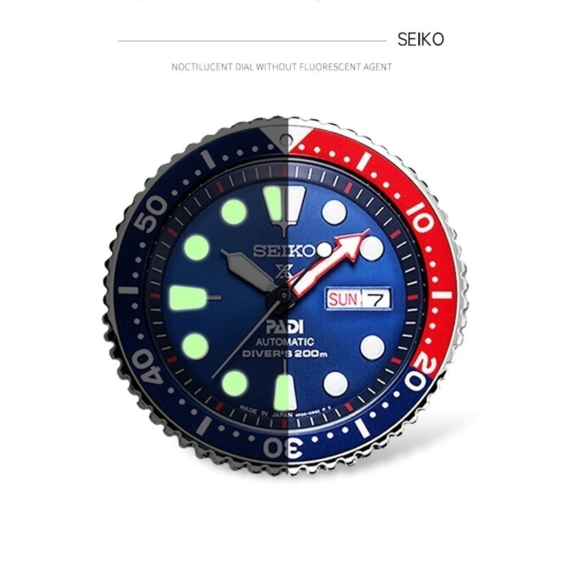 Seiko Men's PADI Water Ghost Mechanical Watch Diving Watch Silver Strap Black Red Orange Bezel