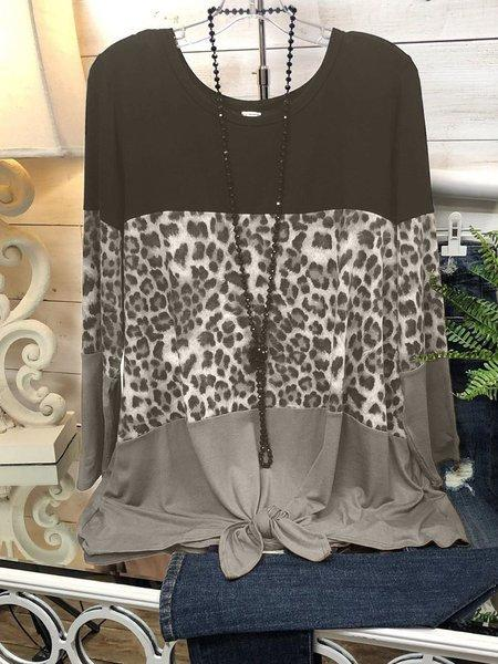O-Neck Leopard Shirts & Tops