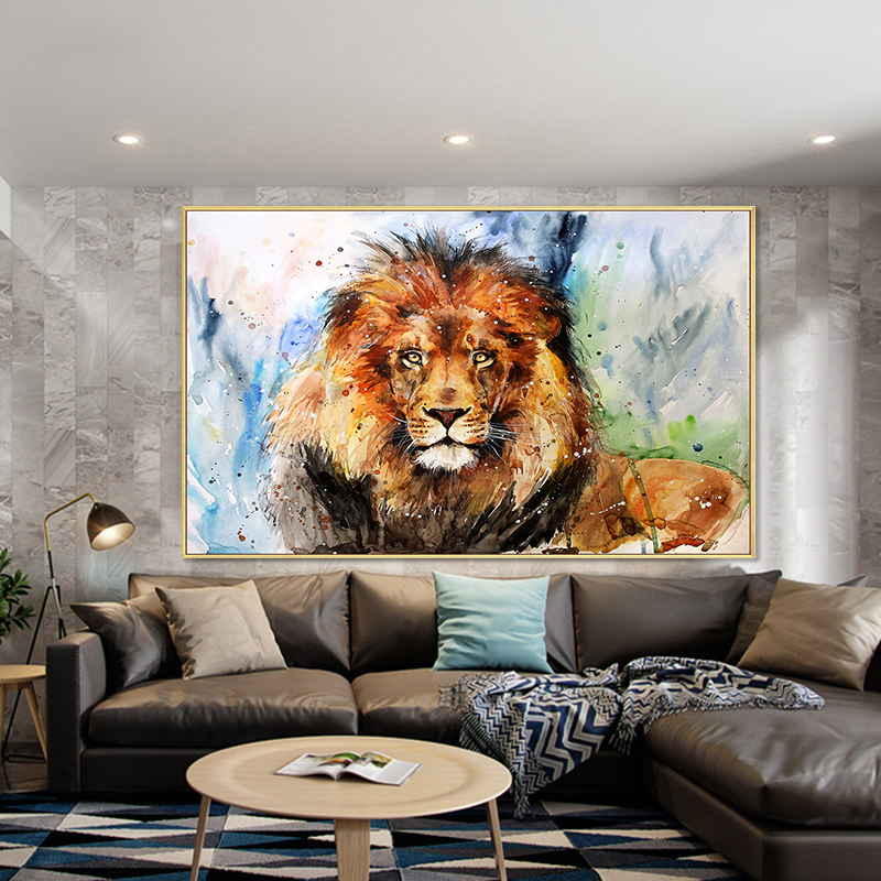 Hand painted living room abstract animal oil painting hand painted large colorful lion abstract oil painting art