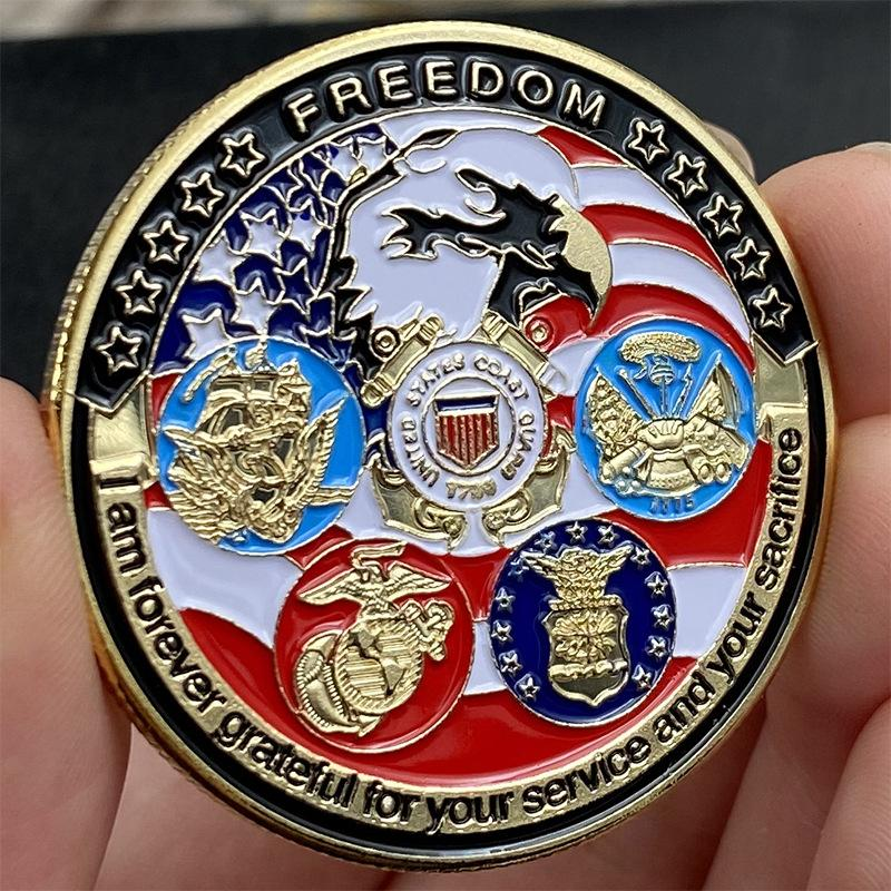 Gold Plated Coin USA Navy USAF USMC Army Coast Guard American Free Eagle Totem Gold Military Medal Challenge Coin Collection