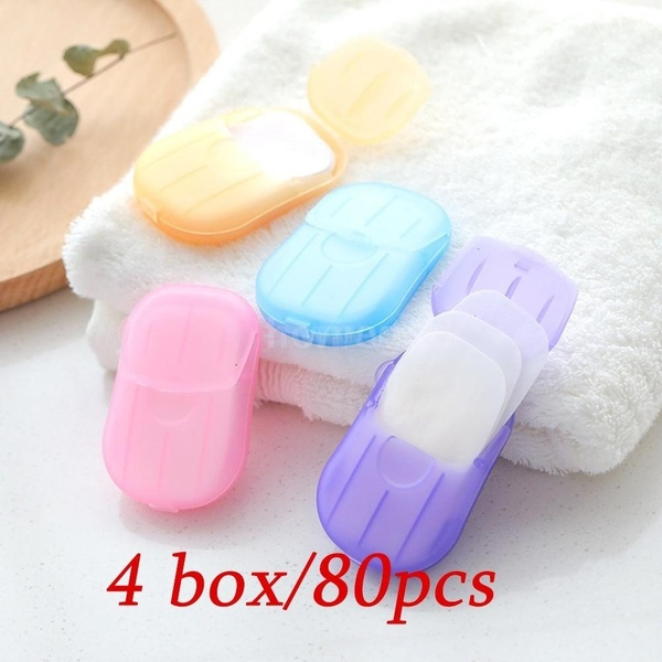 80pcs/4box Travel Portable Disposable Soap Flakes with Storage Box Container Soap Papers Scented Foaming Mini Paper Soap Hand Washing Cleaning Supplies(Color:random)