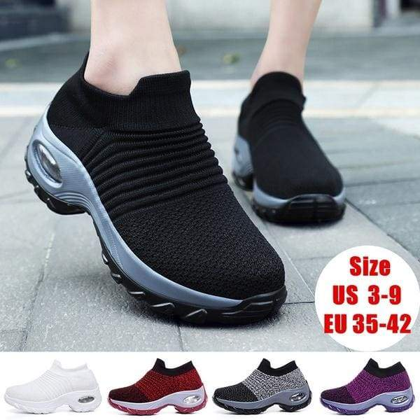 TangXXIV Female Women All Year Daily Fashion Non-slip PU Sole Double Layer Breathable Mesh Vamp Air Cushion Casual Shoes 5 Colors Size EU 35-42 US 3-9