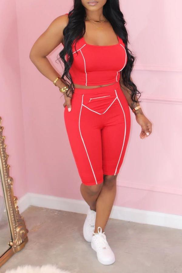Solid Color Sleeveless Sports Two-piece Suit