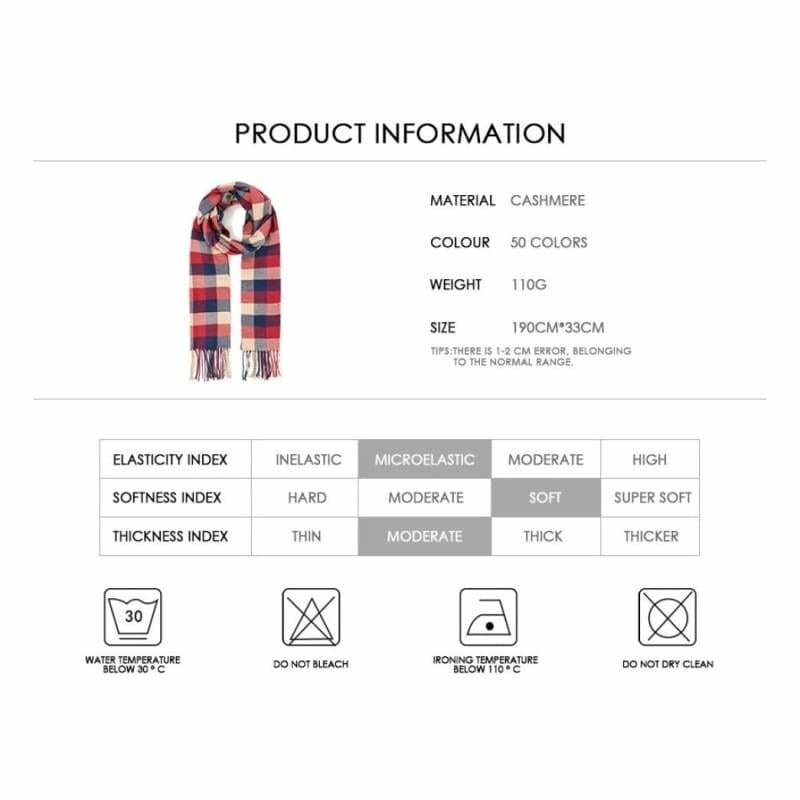 Fashion Brand Long Knitted Scarf Plaid Winter Scarf For Women Casual Scarf Scarves Shawl