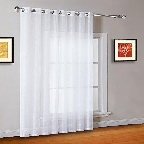 Warm Home Designs 1 Extra-Wide Bright White Sheer Patio Curtain Panel 102 x 96 I