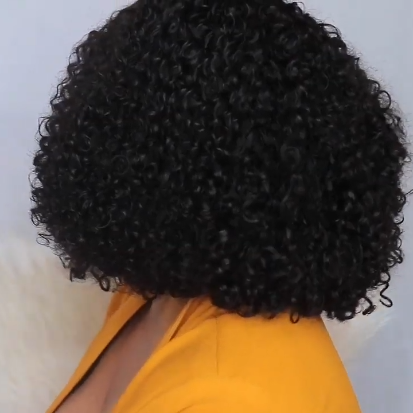 Celebrity Style Small Kinky Curl Lace Closoue Wig