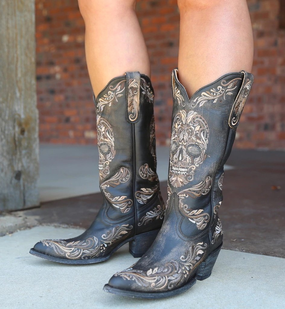 【🎊Clearance Sale and Free Shipping🎊】Old Gringo Unisex sugar skulls Rustic Boots