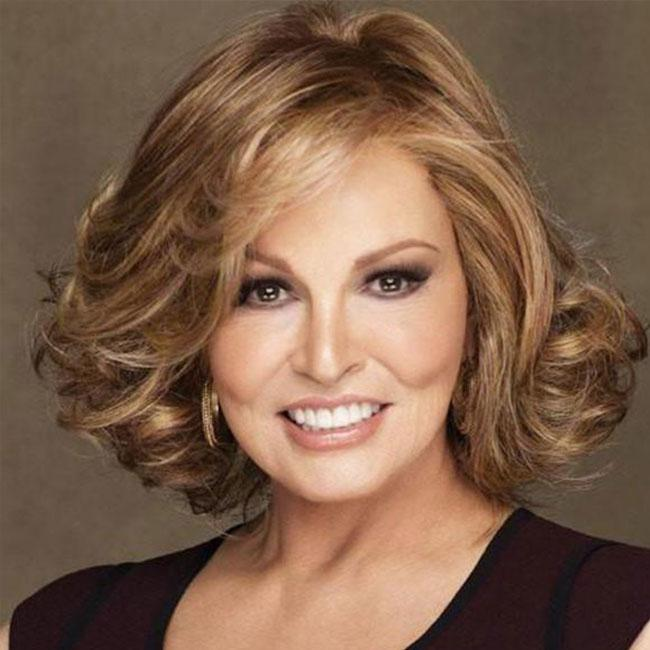 KAMI 033 Chin Length Curly Wavy Brown Wigs Synthetic Hair no Bangs for White Women