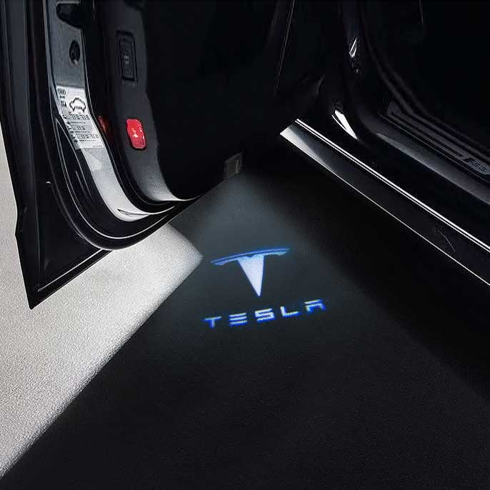 CarFitg Wireless Led Car Door Projector Puddle Logo Light - TESLA