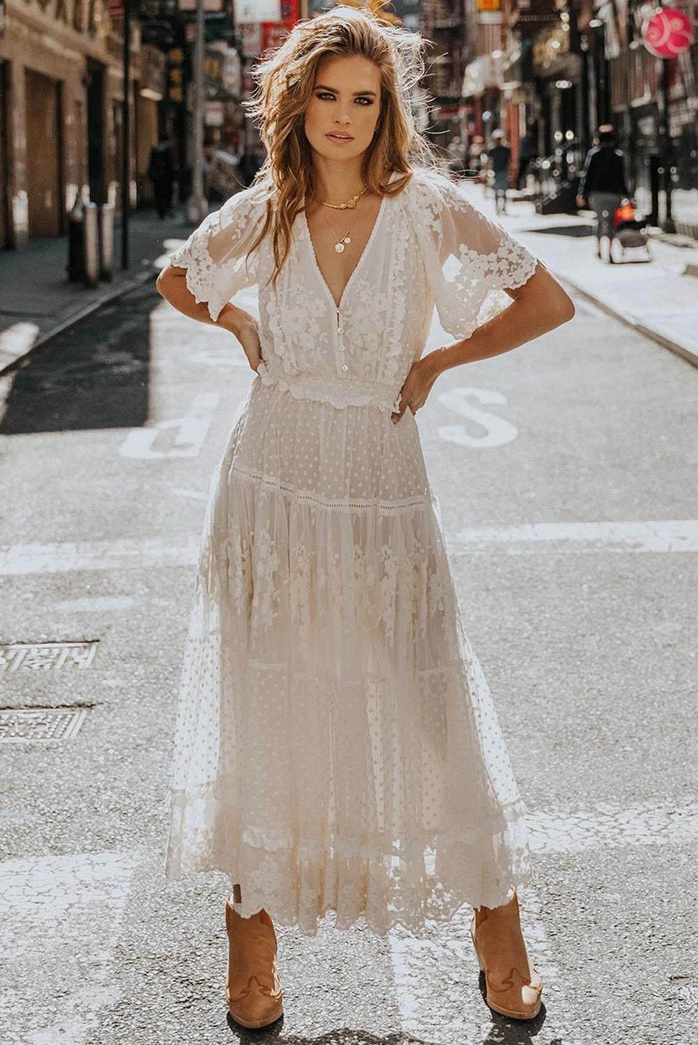 Fashion Clothing Luminous Dawn Lace Gown