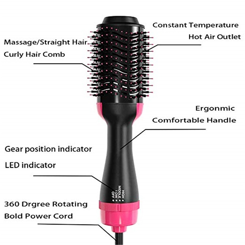 Multifunctional Hair Dryer & Hair Straightener Curly & Hot Hair Comb & Hair Dryer Ion Women 3 In 1 Hot Air Brush Tools Women Beauty Hair Straightener Curler Styling Styler Salon Anti-Scald Reduce Frizz