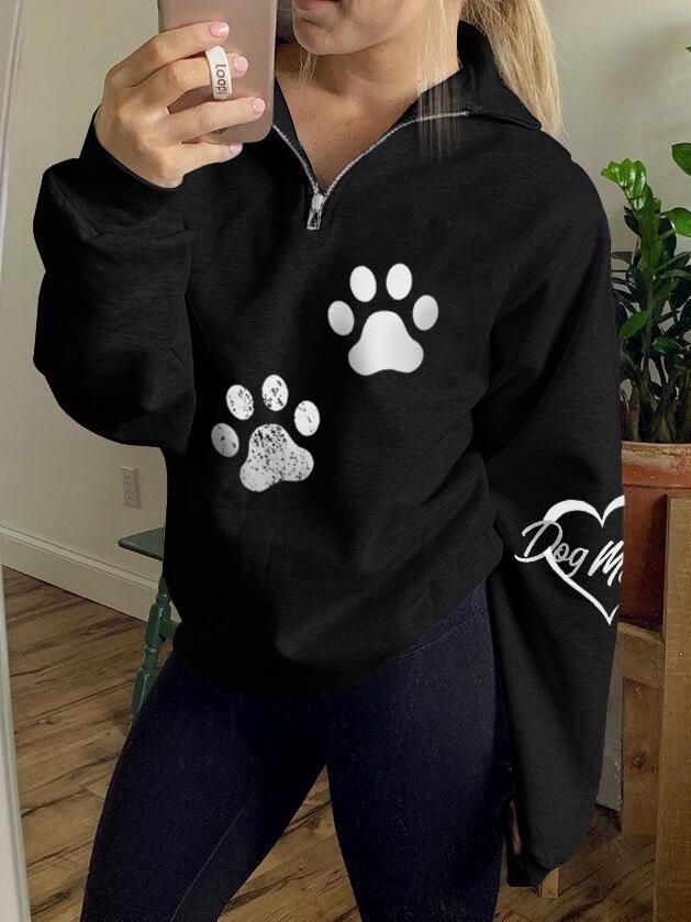 Women's Love Dog Mom Paw Print Zip Top