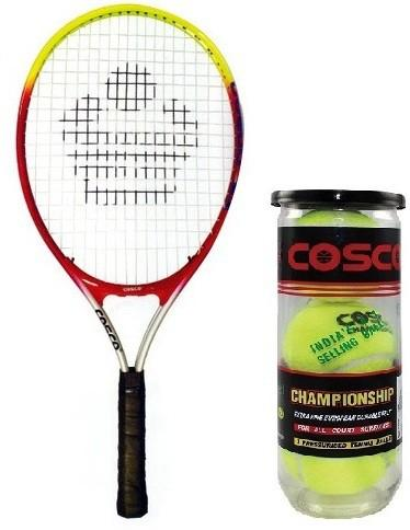 Cosco Combo Of Two, one 'Cosco 23' Tennis Racquet and One Box 'Championship' Tennis Ball Pack of 3- Multicolor Strung Tennis Racquet  (Pack of: 1, 95 g)