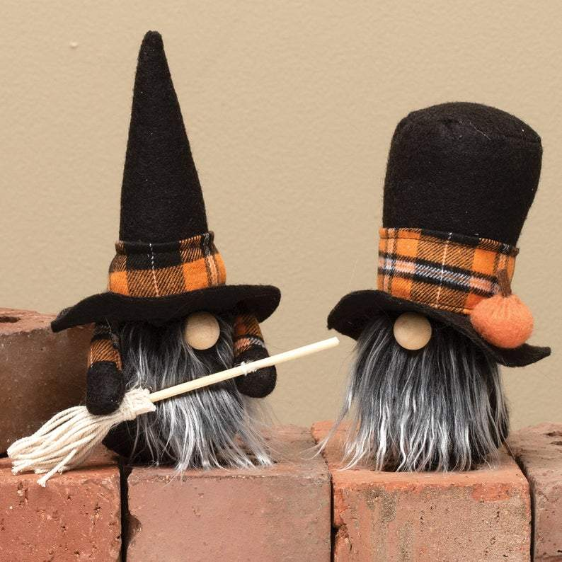 Halloween gnomes - wizard gnomes - witch and warlock gnomes - scary gnome - fall and thanksgiving gnomes - pair of halloween gnomes