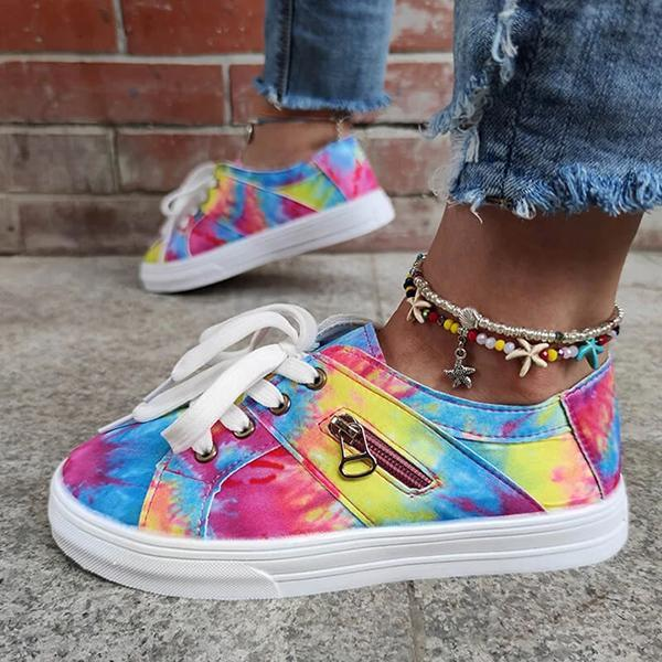 Lemmikshoes Women Multicolor Tie-Dye Zipper Lace-Up Flat Heel Sneakers